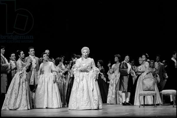 """Mirella Freni in the Opera """"Adrienne Lecouvreur"""" by Francesco Cilea (b/w photo)"""