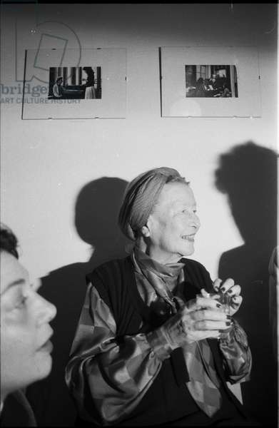 Simone de Beauvoir in Paris, 1986 (b/w photo)