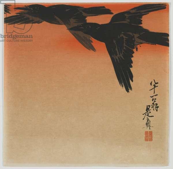 Crows at twilight, Meiji era, late 19th century (colour woodblock print)