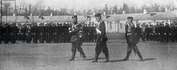 The Tsar and Grand Duke Michaelovitch walking on the parade ground in St.Petersburg, illustration from 'The King', May 25th 1901 (b/w photo)