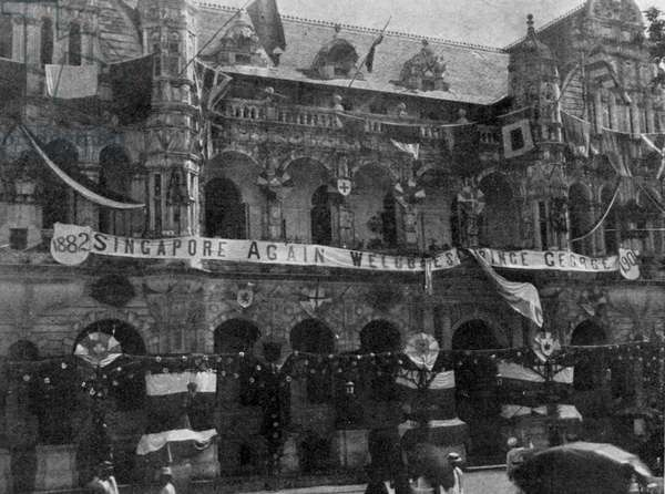 Decorations on the Town Hall, Singapore, illustration from 'The King', May 25th 1901 (b/w photo)