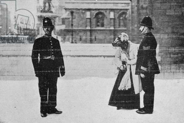 Miss. Billington finding her card, from an article entitled 'The Reassembling of Parliament' published in 'The Graphic', October 27th 1906 (b/w photo)