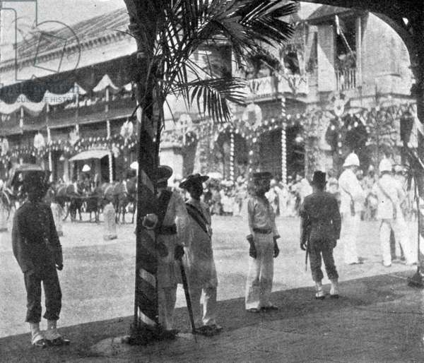 Awaiting the arrival of the Duke and Duchess of York, Singapore, illustration from 'The King', May 25th 1901 (b/w photo)