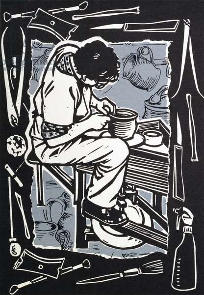 Potter, 1998 (linocut on paper)
