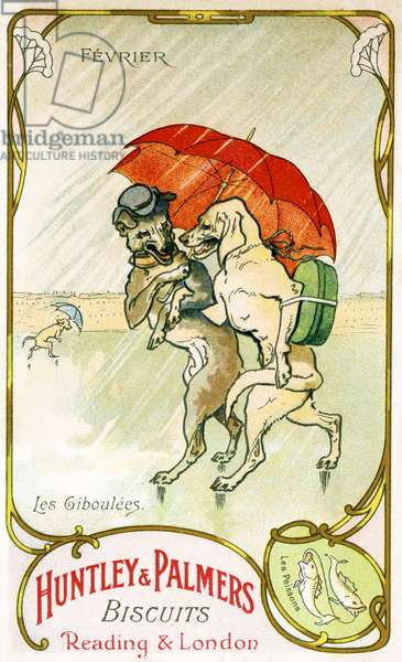 February, Showers, Pisces, from a series of promotional cards on the months of the year, produced for the French market by Huntley and Palmers, c.1910 (colour litho)