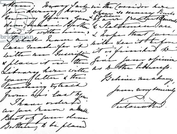 Letter to Miss Gordon, thanking her for the gift of a Bible which had belonged to her brother, General Gordon, and asking how long Gordon had owned this 'treasure', written at Windsor Castle, 16 March, 1885 (pen & ink on paper)