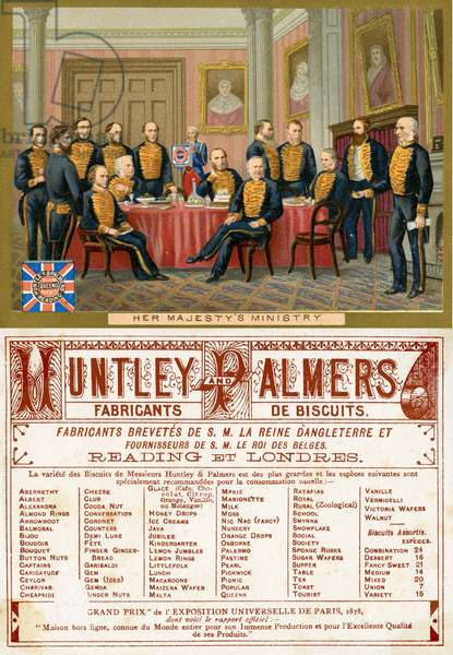 Her Majesty's Ministry, front and back of a promotional card for Huntley & Palmers Biscuits, produced for the French market c.1890 (colour litho)