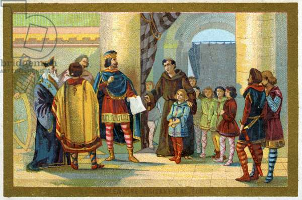 Charlemagne visiting a school, c.1900 (colour litho)