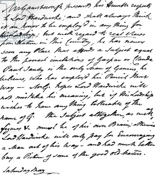 Letter from Gainsborough to Lord Hardwicke setting out his opinions on the painting of nature and landscape in England, c.1760-70 (pen & ink on paper)