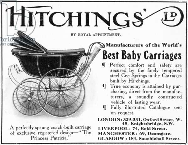 Hitchings 'Princess Patricia' Baby Carriage, advertisement from 'Country Life' magazine, July 1916 (litho)