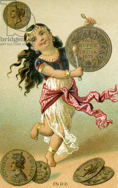 Indian dancer beating a rupee drum, from a series of promotional cards on currencies in different countries, published in Paris by Baster & Vieillemard for use by the chocolate producer, 'Chocolat Ibled', 1886-95 (colour litho)
