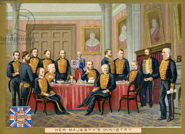 Her Majesty's Ministry, a promotional card for Huntley & Palmers Biscuits, c.1890 (colour litho)