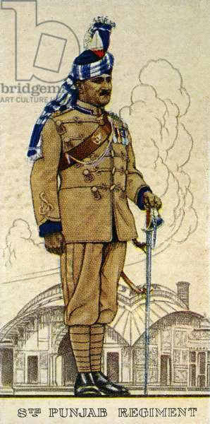 Subadar-Major of the 8th Punjab Regiment, Indian Army, 1938 (colour litho)