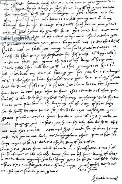 Letter from Katherine of Aragon as Regent, to her husband, King Henry VIII in France, announcing the English victory over the Scottish army at Flodden and the death of King James IV of Scotland, 16 September, 1513 (pen & ink on paper)