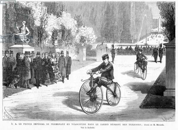 The Prince Imperial, watched by his parents, the Emperor and Empress, shows his skill in cycling on a Michaux velocipede in the Tuileries Gardens, Paris, 1869 (engraving)