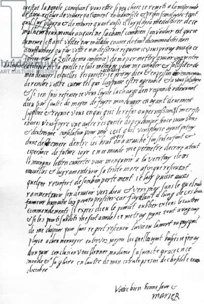 Letter from Mary Queen of Scots while in prison at Sheffield to Queen Elizabeth I of England, praying to be allowed to confer with one of her French servants, to have the consolation of being permitted a Catholic priest, and to be able to correspond openly with her son, 29 October, 1571 (pen & ink on paper)