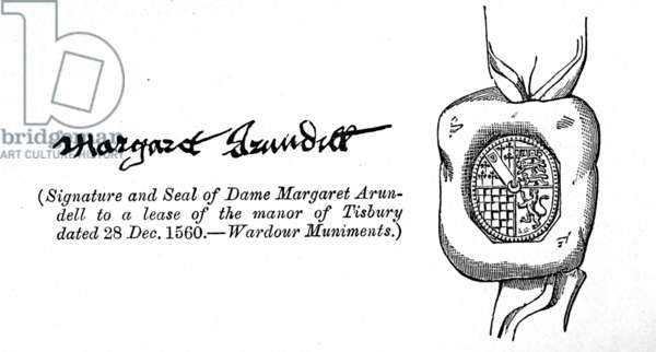 Signature and seal of Lady Margaret Arundell, 1560 (litho) (see also 231034)