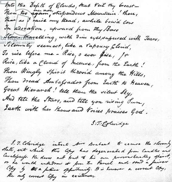 Last lines of Coleridge's poem 'Hymn before Sunrise in the Vale of Chamouny', written in the poet's own handwriting and sent in a letter to Mrs Brabant of Devizes, 1815 (pen & ink on paper)
