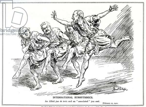 'International Eurhythmics', cartoon lampooning President Wilson, Lloyd George, Millerand and Nitti, February, 1920 (litho)