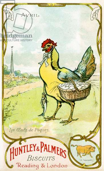 April, Easter Eggs, Taurus, from a series of promotional cards on the months of the year, produced for the French market by Huntley and Palmers, c.1910 (colour litho)