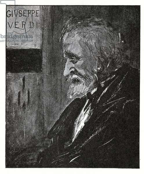 Giuseppe Verdi, 1893 (ink & wash) (litho)