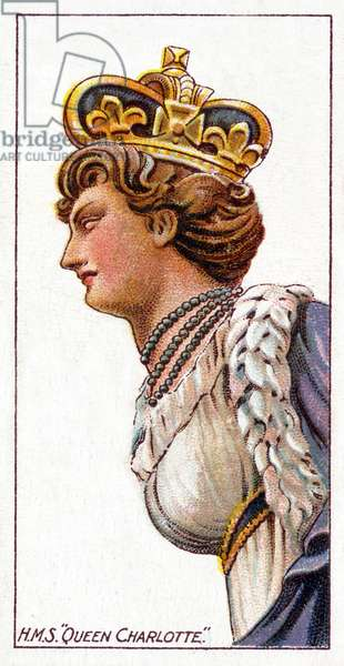 Figurehead of H.M.S. Queen Charlotte, 1912 (colour litho)