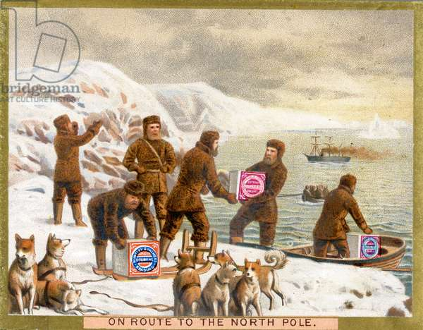 'On Route to the North Pole',  a promotional card for Huntley & Palmers Biscuits, c.1890 (colour litho)