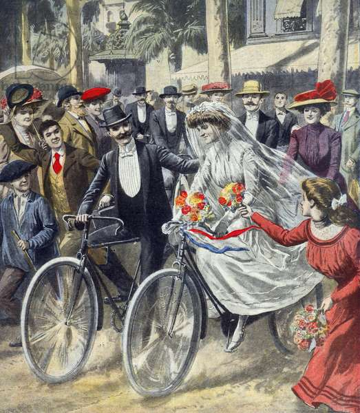 A Bicycle Wedding, 1909 (colour litho)