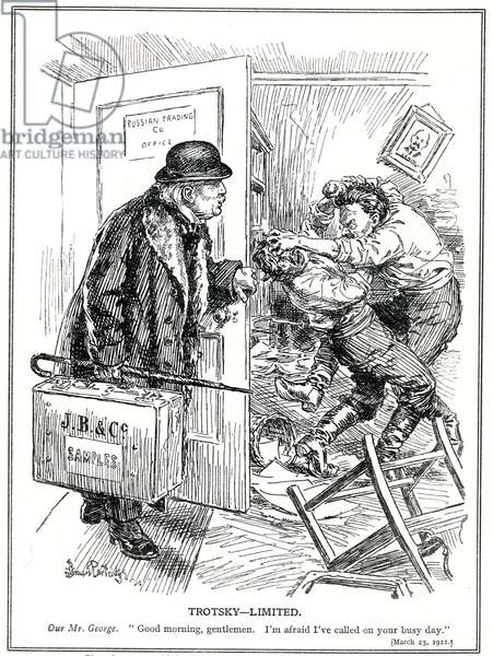 LLoyd George, portrayed as the travelling salesman for 'John Bull & Co.' visits Russia where he finds Trotsky fighting, March, 1923 (litho)