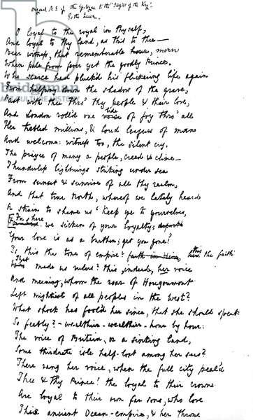 Original manuscript of the Epilogue to the 'Idylls of the King', addressed to Queen Victoria, 1872 (pen & ink on paper)