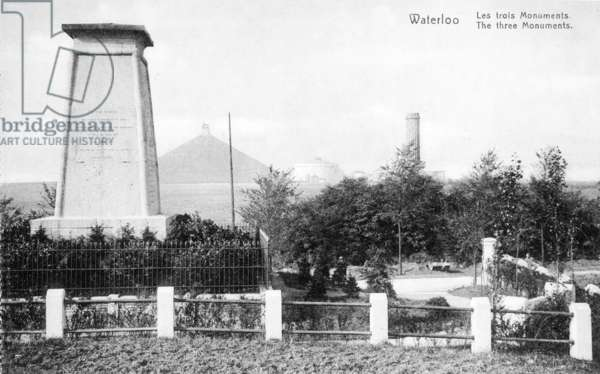 Three monuments erected to commemorate the Battle of Waterloo, commemorative postcard c.1912 (photolitho)