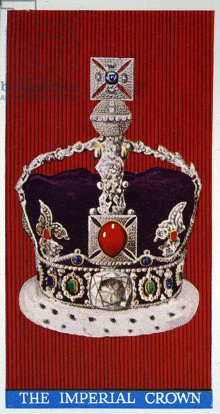 The Imperial Crown, from the Crown Jewels of the United Kingdom, 1937 (colour litho)