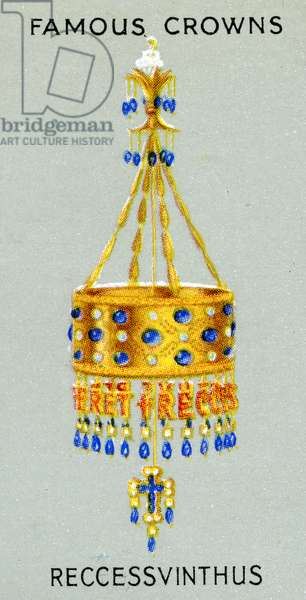 Votive crown of King Recceswinth, made of gold, rock crystal, pearls and sapphires, 1938 (colour litho)
