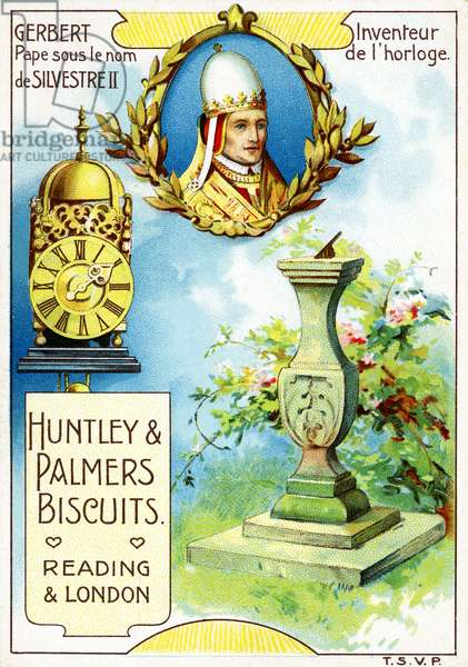 Pope Sylvester II, Inventor of the first mechanical clock, from a series of promotional cards on inventors, produced for the French market by Huntley and Palmers,  c.1910 (colour litho)