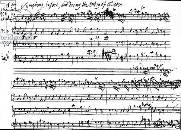 Original score of the beginning of the symphony accompaning the entry of Alcides in Tobias Smollett's play 'Alcestes', set to music by Handel between 27 December. 1749 and 8 January, 1750, 1750 (pen and ink on paper)