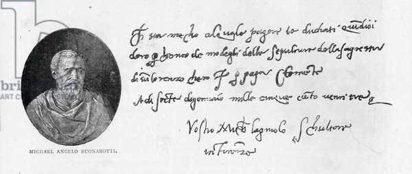 Handwriting and signature of Michelangelo Buonarroti (pen and ink on paper)