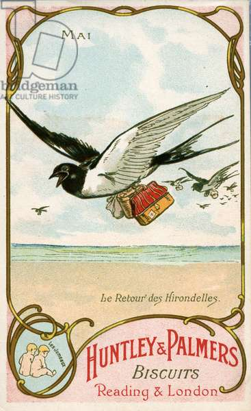 May, Return of the Swallows, Gemini, from a series of promotional cards on the months of the year, produced for the French market by Huntley and Palmers, c.1910 (colour litho)