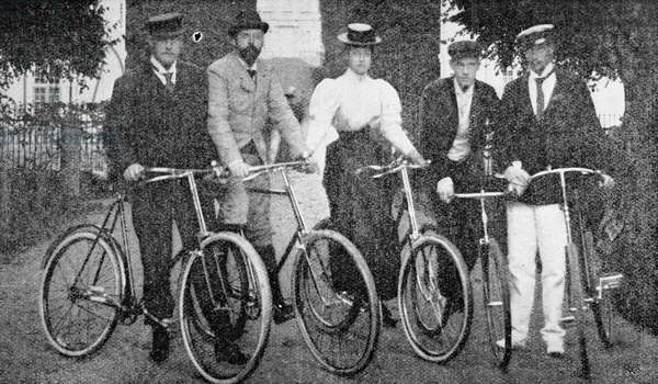 Royal cyclists starting for a spin at Fredensborg, Denmark, 1900 (b/w photo)