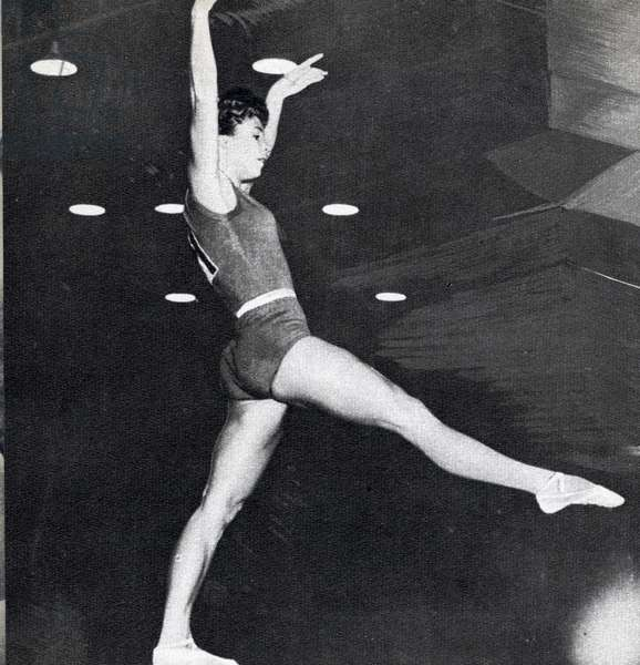 Larysa Latynina, Olympic medal record holder and Gold Medallist in the Women's Combined Aggregate Gymnastics at the 1956 Melbourne Olympics (b/w photo)