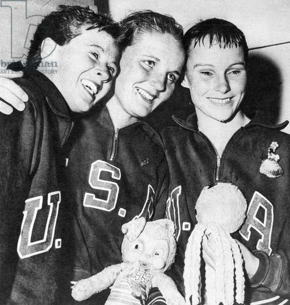 Olympic Women's High Diving Champions (L to R) Juno Stover-Irwin (Silver Medalist), Pat McCormick (Gold) and Paula Myers-Pope (Bronze) at the 1956 Melbourne Olympics (b/w photo)