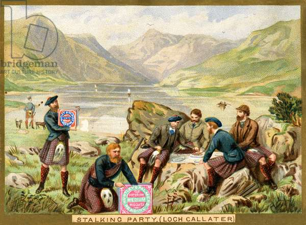 'Stalking Party, Loch Callater',  a promotional card for Huntley & Palmers Biscuits, c.1890 (colour litho