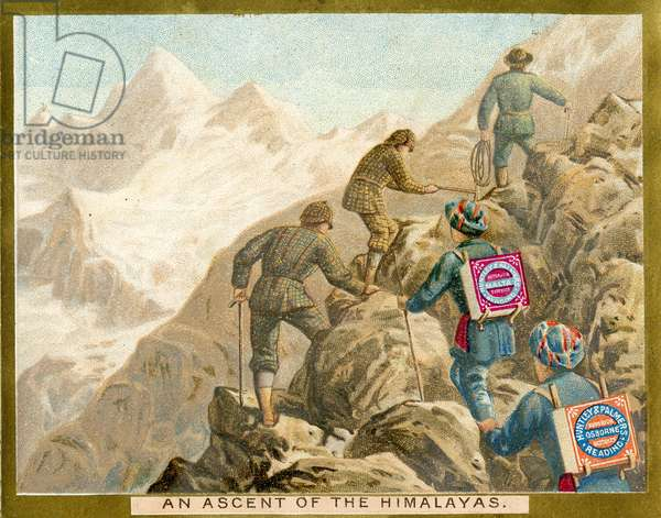 An Ascent of the Himalayas, a promotional card for Huntley & Palmers Biscuits, c.1890 (colour litho)