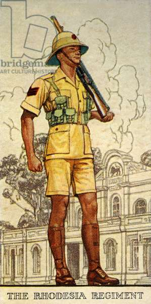 Sergeant of the Rhodesia Regiment in Drill Order, 1938 (colour litho)
