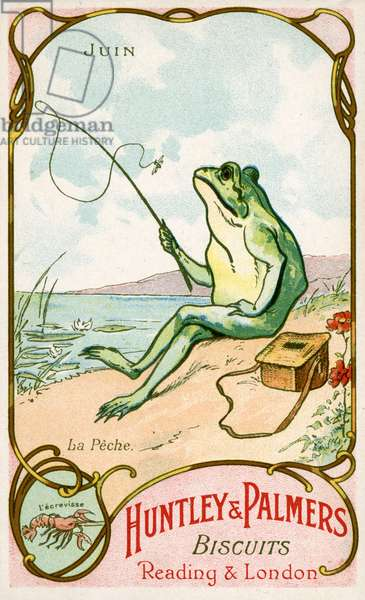 June, Fishing, Cancer, from a series of promotional cards on the months of the year, produced for the French market by Huntley and Palmers,  c.1910 (colour litho)