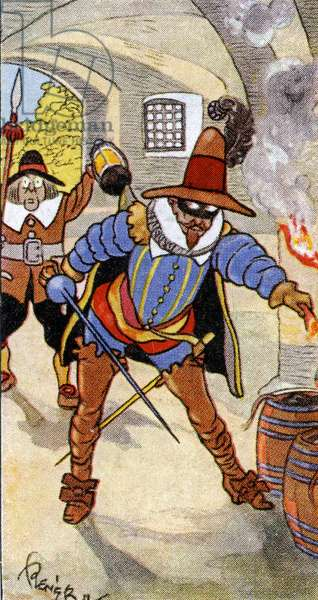 Discovery of the Gunpowder Plot and capture of Guy Fawkes, 1936 (oil on canvas)