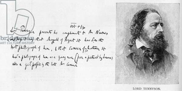 Handwriting and signature of Lord Tennyson (litho and pen & ink on paper)