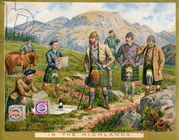 'In the Highlands',  a promotional card for Huntley & Palmers Biscuits, c.1890 (colour litho)