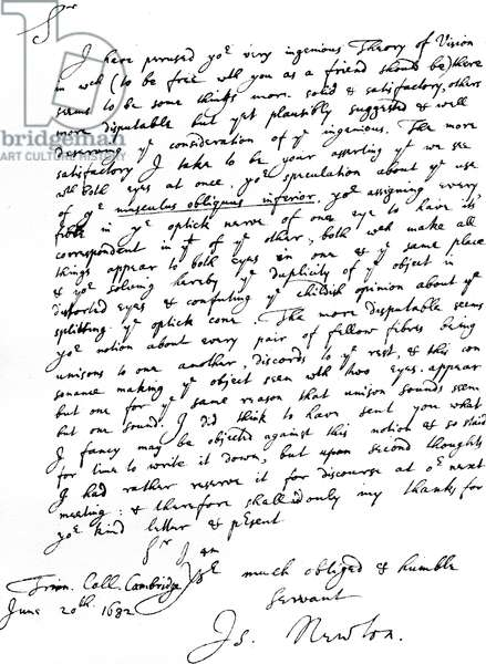 Letter from Sir Isaac Newton to William Briggs, M.D., written from Trinity College, Cambridge, 20 June, 1682 (pen & ink on paper)