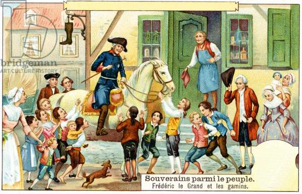 Frederick the Great of Prussia with the urchins (colour litho)
