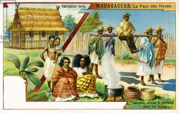 Madagascar, Land of the Hovas - illustrations of a traditional home and customary method of transport by a filanzane,  1908 (colour litho)